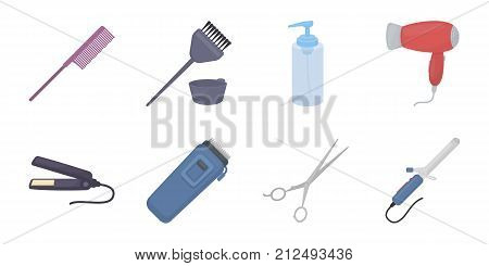 Hairdresser and tools icons in set collection for design.Profession hairdresser vector symbol stock  illustration.