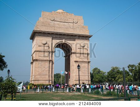 People visiting The India Gate also called All-India War Memorial Arch is a war memorial to fallen soldiers in New Delhi, India September 29, 2017
