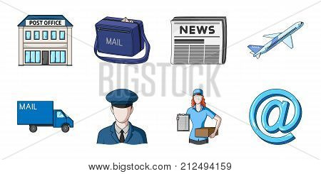 Mail and postman icons in set collection for design. Mail and equipment vector symbol stock  illustration.