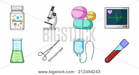 Medicine and treatment icons in set collection for design. Medicine and equipment vector symbol stock  illustration.