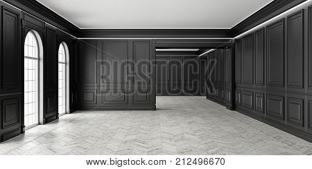 3D Classic style empty black room with parquet and classic wall pannels, big window and illumination.