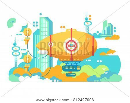 Airship hovering in city design flat. Old aircraft in air, dirigible for travel and retro transport aviation, vector illustration