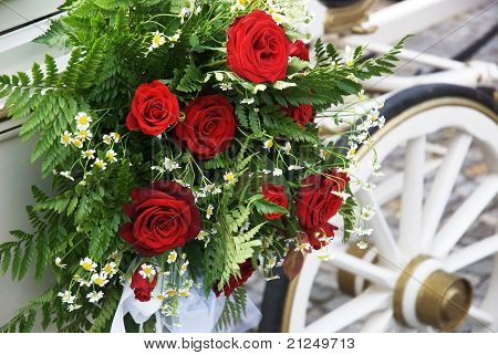 Wedding Carriage With Huge Bouquet