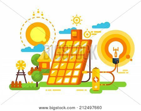 Solar battery for lighting and energy design. Energy and environment, panel power for electricity, vector illustration poster
