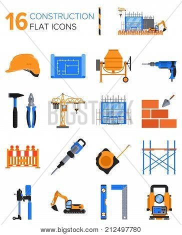 16 constructions icons in flat style. Constructor kit for design poster