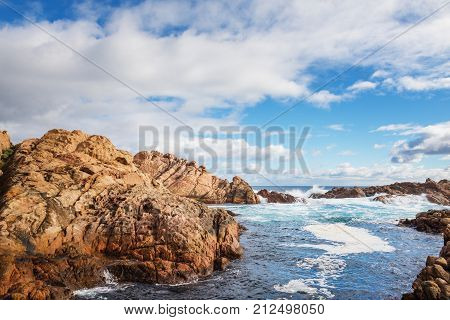 famous rocks in canal of the coast in Busselton is a city on the southwest tip of Western Australia