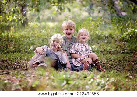 A portrait of three happy young blonde haired children a boy his little brother and their baby sister laughing outside under the forest.