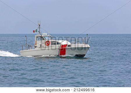 Coast Guard Vessel Patroling at Tyrrhenian sea Near Amalfi Coast