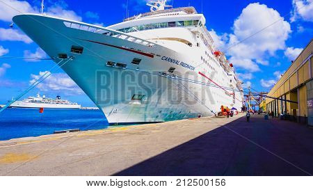 Barbados, Barbados - May 11, 2016: The Carnival Cruise Ship Fascination at dock. She is one of 8 sister ships and received a million dollar refurbishment in 2006