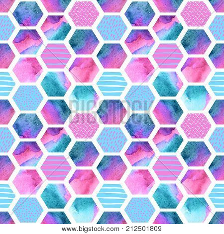 Watercolor hexagon seamless pattern. Abstract geometric background with scribble doodle texture. Geometrical hexagon elements in 80s or 90s. Hand painted illustration in rave colors