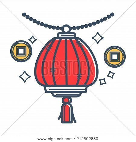 Authentic Japanese paper lantern with tassel that hangs on small beads and gold coins with square holes isolated cartoon flat vector illustration on white background. Oriental handmade creative lamp.