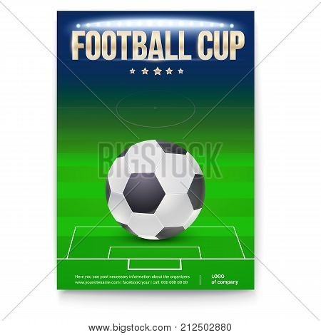 Football cup poster template with place for information and emblem of participants. Night football stadium in the spotlight with ball. 3D illustration, template for print design for football events.