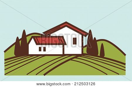 Vineyard field or winery farm house for winemaking or wine production viticulture design. Vector farmer village on green grape field rural landscape