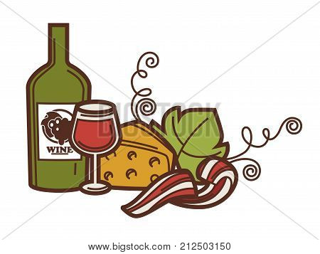 Wine glass bottle, grape vine and cheese icon for winemaking or wine production design. Vector symbol of viticulture winery and vineyard