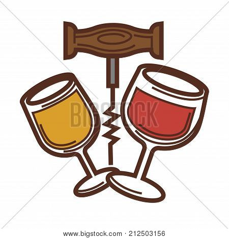 Wine glass of red and white wine and corkscrew icon for winemaking or wine production design. Vector symbol of viticulture winery and vineyard