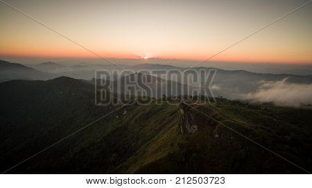 Aerial Shot Phu Chi Fa Chiang Rai north, of thailand