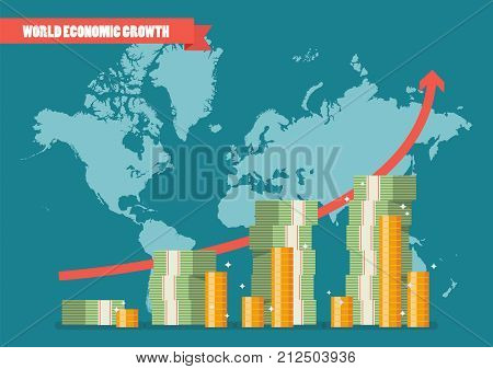 World economic growth infographic. Vector illustration graphic design