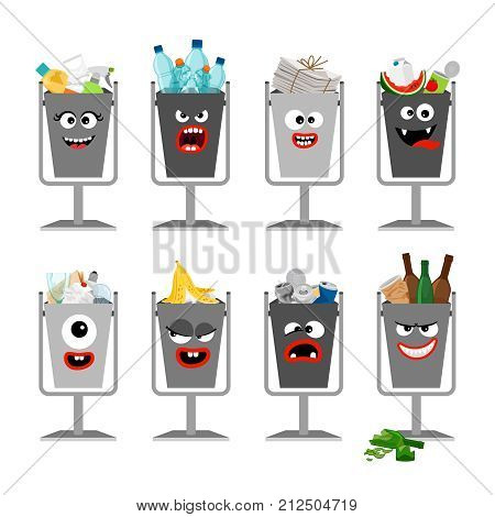 Garbage cans with trash for kids. Trash cans with cute monster faces, vector icons set
