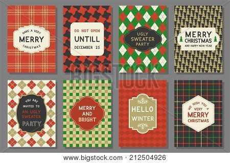 Invitation for party and Merry Christmas typography and elements such as vintage frame, plaid pattern with greeting card template
