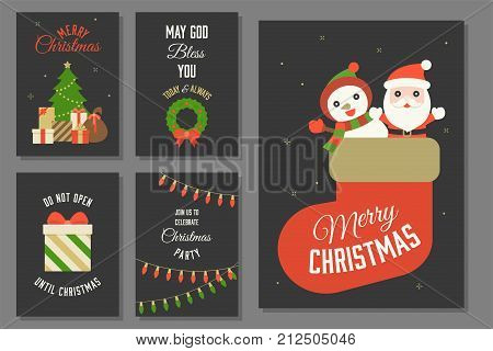 Merry Christmas typography and elements with greeting card template such as Santa Claus and snowman in sock, Christmas wreath, pile of present boxes, gift box, LED Christmas lights  in flat design