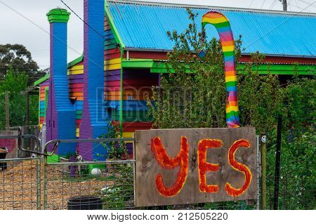 Ararat Australia - October 22 2017: a house in Ararat supporting the Yes campaign in the same sex marriage vote. Voting in the same sex marriage vote ended on 7 November.