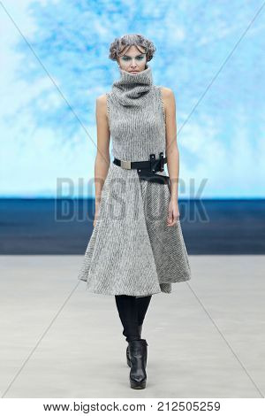 ZAGREB, CROATIA - OCTOBER 28, 2017: Fashion model wearing clothes from the Fall/Winter collection designed by Marina Design and belt designed by Marija Ivankovic at the 'Fashion.hr' fashion show