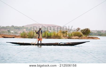 BAMAKO, MALI - CIRCA FEBRUARY 2012: Bozo fisherman on the river Niger just outside Bamako