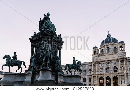 Vienna,  Austria - August 17, 2017:  Maria Theresien Platz is a large public square with the Natural History Museum and Art History Museum
