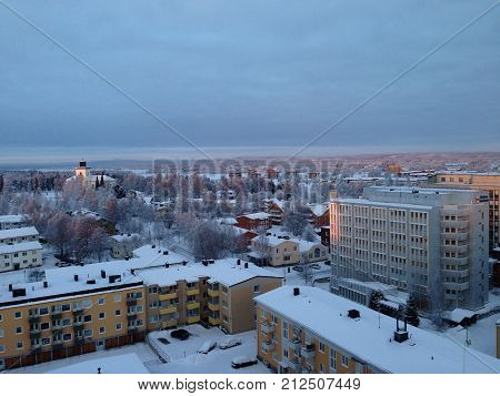 Boden town in the north of Sweden, beautiful view in winter