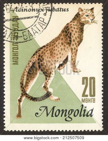 MOSCOW RUSSIA - CIRCA OCTOBER 2017: a post stamp printed in MONGOLIA shows Cheetah (Acinonyx jubatus) the series