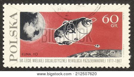 MOSCOW RUSSIA - CIRCA OCTOBER 2017: a post stamp printed in POLAND shows Luna-10 satellite the series