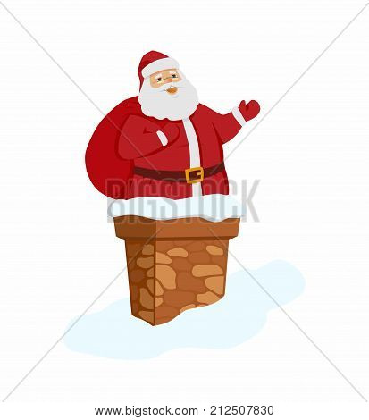 Happy Santa Claus - cartoon character isolated illustration on white background. Smiling Father Frost stands with a bag of gifts in front of chimney ready to give presents. New Year, Christmas concept