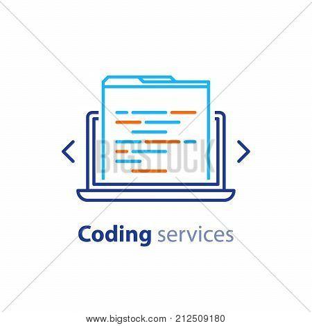 Coding services, software development, internet technology, innovation concept, web site design, administration vector line icon