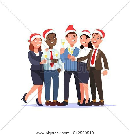 Christmas corporate party in office. Vector illustration group young people staff in santa hat with glass toast cartoon style isolated.