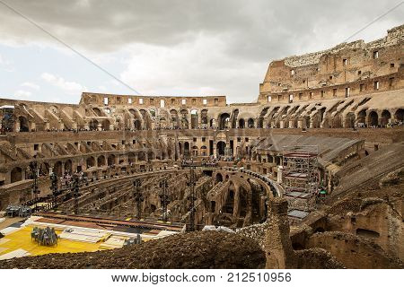 Rome Italy - September 2 2017 : One of the most popular travel place in world - Roman Coliseum . A view from the inside .