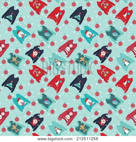 Christmas background with cute ugly christmas sweaters set sweater party collection for invitations