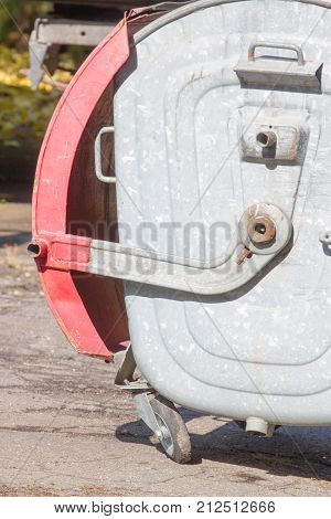 One trash can outdoor area. Metal container. Recycle, ecology