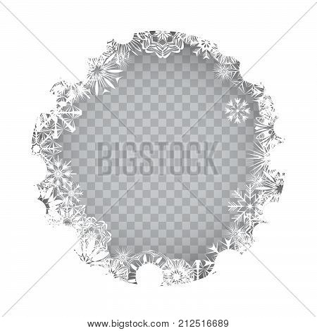 Snowflakes circle frame on a transparent background for your Christmas design. Abstract frost pattern background with place for your text. Vector illustration