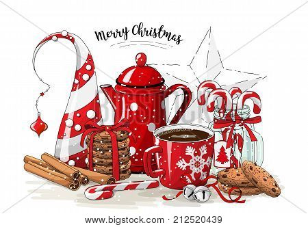 Christmas still-life, red tea pot, coolies, abstract christmas tree, glass jar with candy canes, cinnamon sticks, cup of coffee and jingle bells on white background, vector illustration, eps 10 wit transparency
