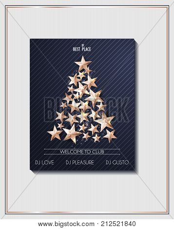 Christmas Poster or Flyer Template with Christmas Tree of Cutout Shining Gold Stars