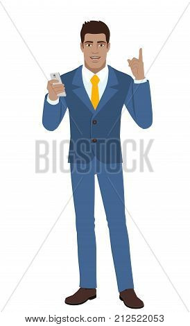 Businessman with mobile phone pointing up. Full length portrait of Black Business Man in a flat style. Vector illustration.