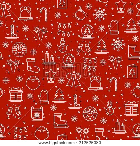 Merry Christmas party celebration seamless pattern. Xmas New Year holidays. Party decor elements thin icons. Vector illustration. Line background texture. Snowflakes christmas tree gift firework bell