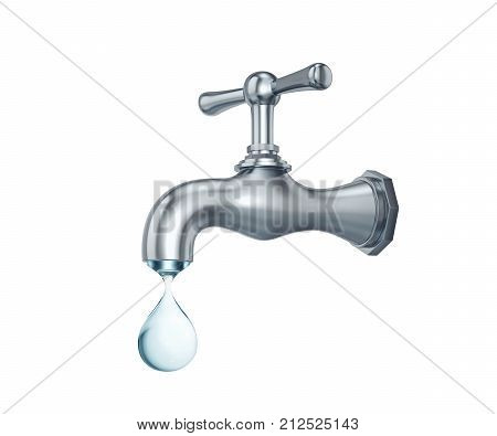 Water tap with big drop of water isolated on white. 3D rendering