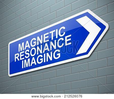 3d Illustration depicting a sign with a Magnetic Resonance Imaging concept. poster