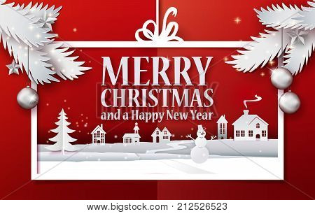 Paper cut and craft Merry Christmas applique background with white christmas tree branches. Landscape with houses, snowman in Holiday banner. Vector illustration. Xmas, Happy New Year greetings. Retro