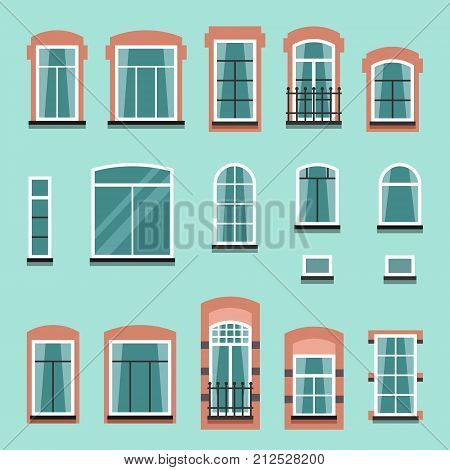 Set of plastic or wooden window frames with shutters, windowsills, curtains, balconies without wall. Flat style vector illustration