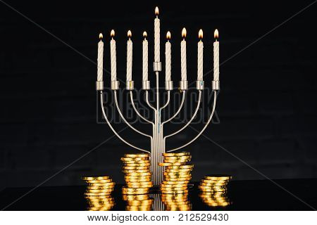 Menorah, Candles And Coins