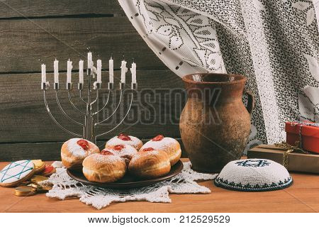 Traditional Jewish Menorah, Kippah And Donuts