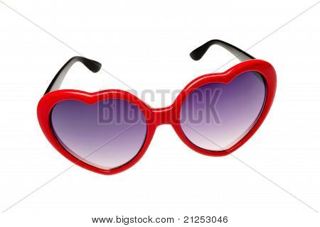Red Glasses In The Shape Of A Heart