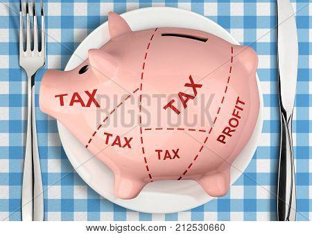 Piggy bank on plate big taxes creative concept